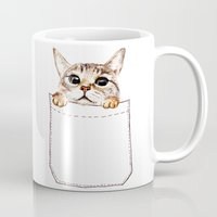 pocket fuel Mugs featuring Pocket cat by Anna Shell
