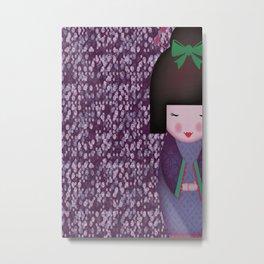 Little Geisha Purple Metal Print