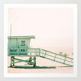 Lifeguard Tower Vintage Art Print