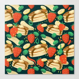 Healthy Pancake Breakfast Pattern Canvas Print