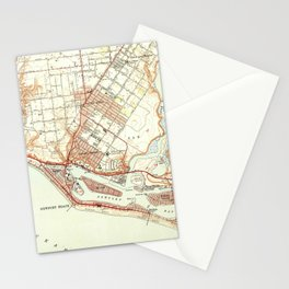 Vintage Map of Newport Beach California (1951) Stationery Cards