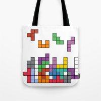 tetris Tote Bags featuring Tetris by Monchi