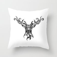 Henna Inspired Stag Head by Ashley-Rose Standish Throw Pillow