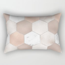 Rose pearl and marble hexagons Rectangular Pillow