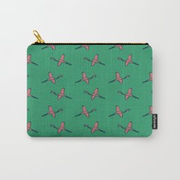 Pink Flamingo watercolor pattern emerald Carry-All Pouch