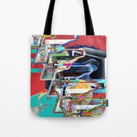 tv Tote Bags featuring TV by Jerry Shirts