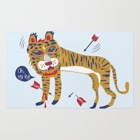 tiger Area & Throw Rugs featuring tiger by echo3005