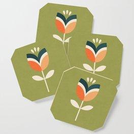 RETRO TULIP - ORANGE AND OLIVE GREEN Coaster
