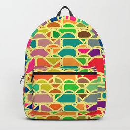 Bricks and waves in bright colors Backpack