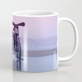 Where the Journey  begins Motorcycle at the Water Sunset Coffee Mug
