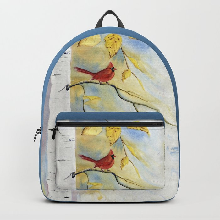 Cardinal on birch Tree Backpack