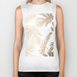 Simply Tropical Palm Leaves in White Gold Sands Biker Tank