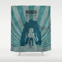 bioshock Shower Curtains featuring Bioshock 2 - Delta and Eleanor by Art of Peach