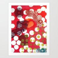 polka dot Art Prints featuring Polka-Dot by Liz Belen