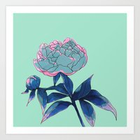 peony Art Prints featuring Peony by Ludovic Jacqz