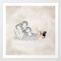 Mummy, son, daughter and cats  Art Print
