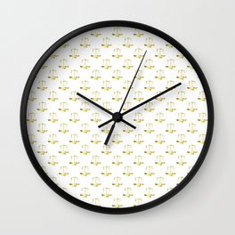 Gold Scales Of Justice on White Repeat Pattern Wall Clock