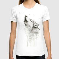 T-shirts featuring Wolf Howling Watercolor Wildlife Painting by Olechka