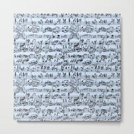 Hand Written Sheet Music // Light Blue Metal Print