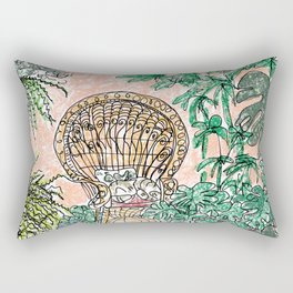 Tropical Coral Jungle Room with Sleeping Cat Rectangular Pillow