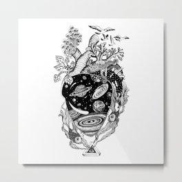 Space Heart Metal Print