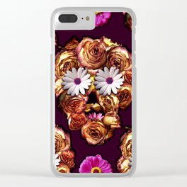 Withering Rose Skull Clear iPhone Case