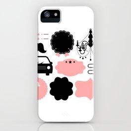 Set of vintage design elements Illustration ( pink and black ) iPhone Case