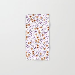 Prairie Flowers - Watercolor Floral Purple Copper Brown Hand & Bath Towel
