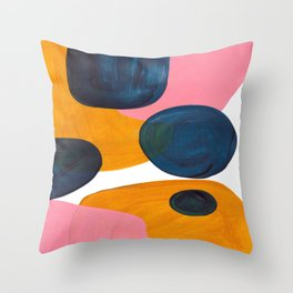 Mid Century Modern Abstract Minimalist Retro Vintage Style Pink Navy Blue Yellow Rollie Pollie Ollie Throw Pillow