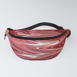 Cherry Bomb Waves, Rippled Red and White Liquid - Digital Fluid Art Fanny Pack