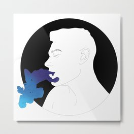 A Man Exhaling Blue Smoke Metal Print