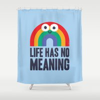 philosophy Shower Curtains featuring Chaos Rains by David Olenick