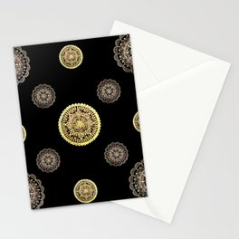 Gold and Rose Gold Mandalas on Black Background Textile Stationery Cards