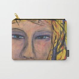 Abstract Portrait Face of an Angry Woman outsider visionary artist Carry-All Pouch