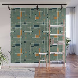 Intersecting Lines in Olive, Blue-green and Orange Wall Mural