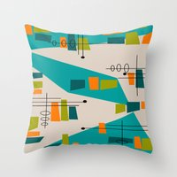 mid century modern Throw Pillows featuring Mid-Century Modern Abstract by Kippygirl