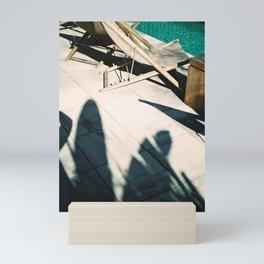 Poolside in Barcelona wanderlust photo print   Palmtree shadow play at summertime Mini Art Print