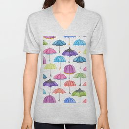 Rainy Day Umbrellas Unisex V-Neck