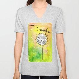 Watercolor Dandelion - Make a wish Unisex V-Neck