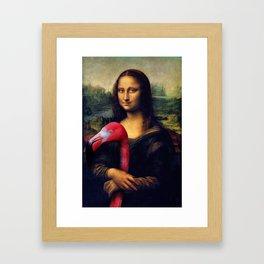 Mona Lisa and Her Flamingo Framed Art Print