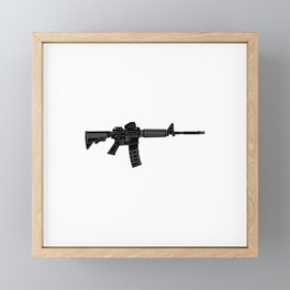 AR15 Rifle Silhouette Framed Mini Art Print