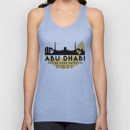 ABU DHABI UNITED ARAB EMIRATES SILHOUETTE SKYLINE MAP ART Unisex Tank Top