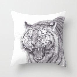 Bengal Tiger Roaring - Big Wild Cat Animal Artwork Drawing Throw Pillow