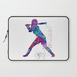 Girl Baseball Softball Batter Watercolour Sports Art Colorful Baseball Print Laptop Sleeve