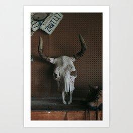 Long Horn Skull Art Print