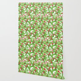 Holly berry watercolor Christmas pattern Wallpaper