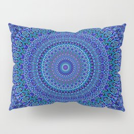 Blue Floral Ornate Mandala Pillow Sham