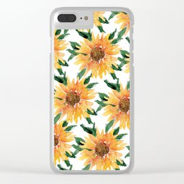 Sunflower Party Clear iPhone Case