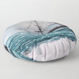 Impressive Spectacular Dreamland Sailship Full Moon Seagull Waterfall HD Floor Pillow
