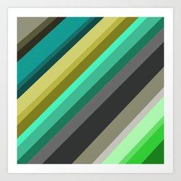 green brown yellow grey stripes Art Print